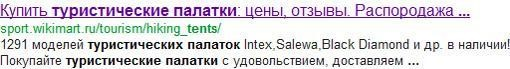 Пример мета-тега Description в Google